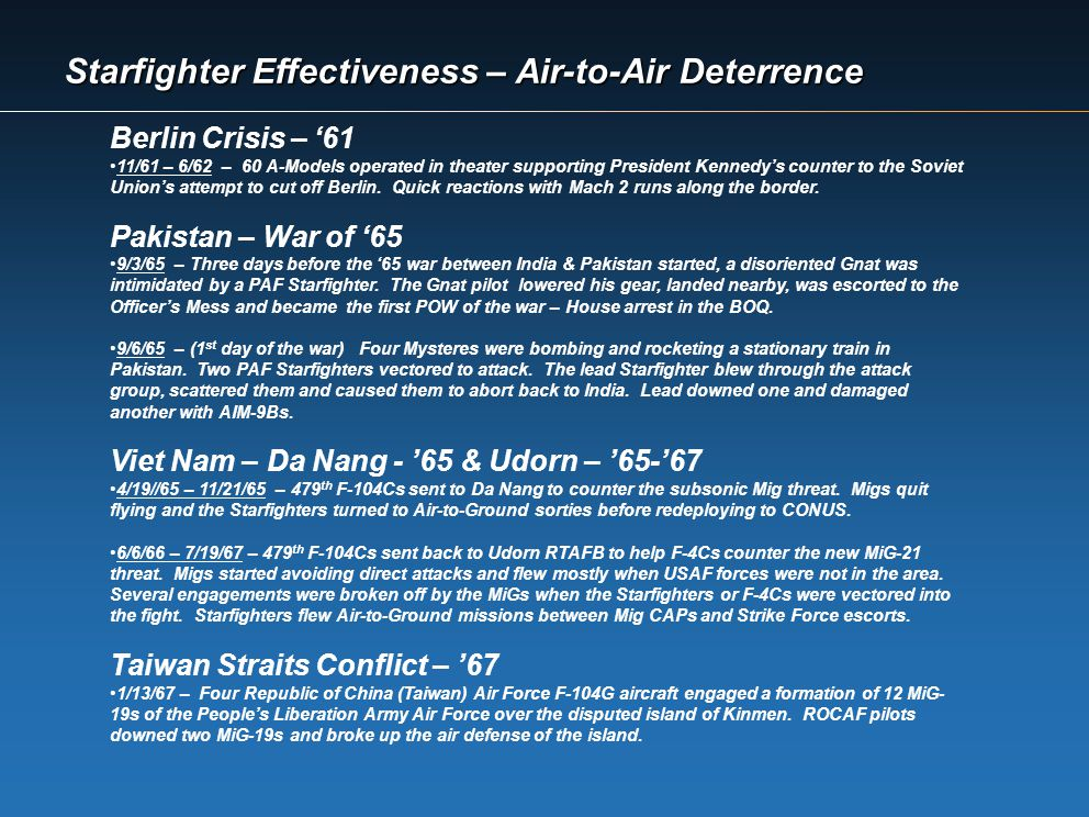 Starfighter Effectiveness – Air-to-Air Deterrence