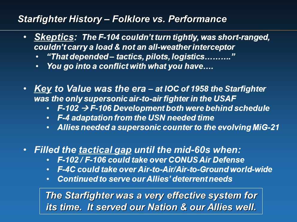 Starfighter History – Folklore vs. Performance