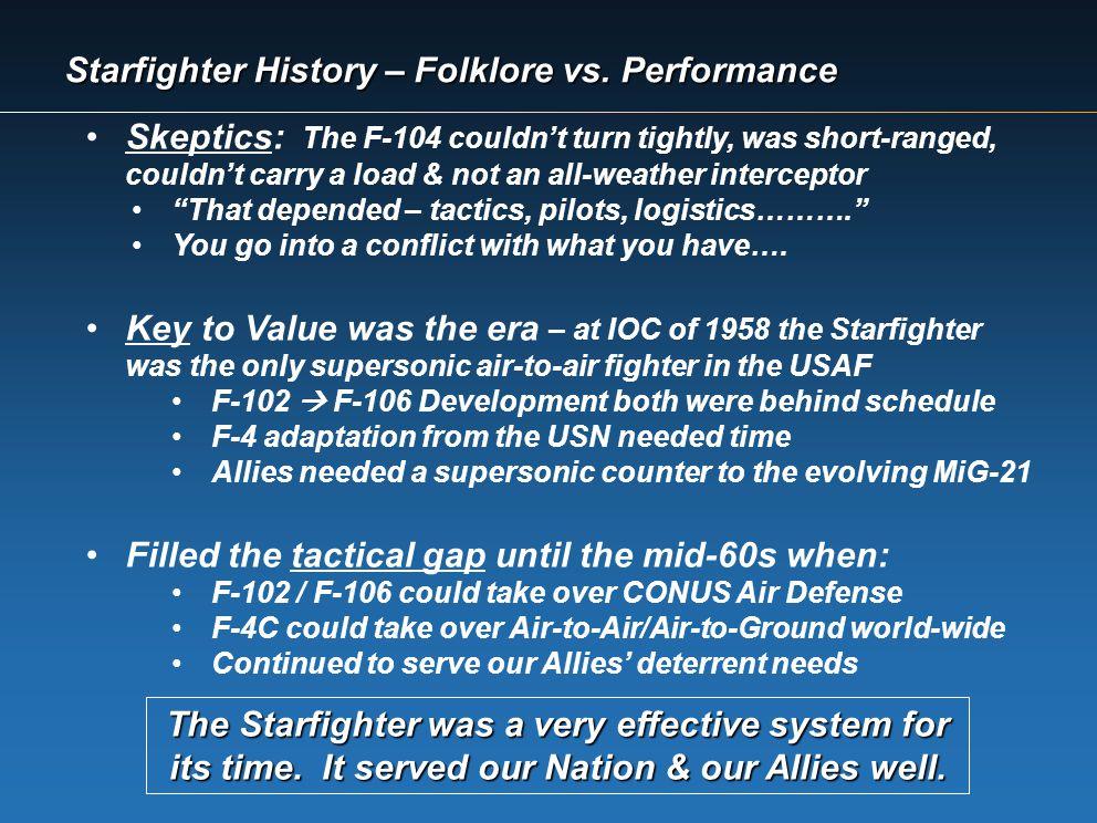 Starfighter History – Folklore vs. Performance