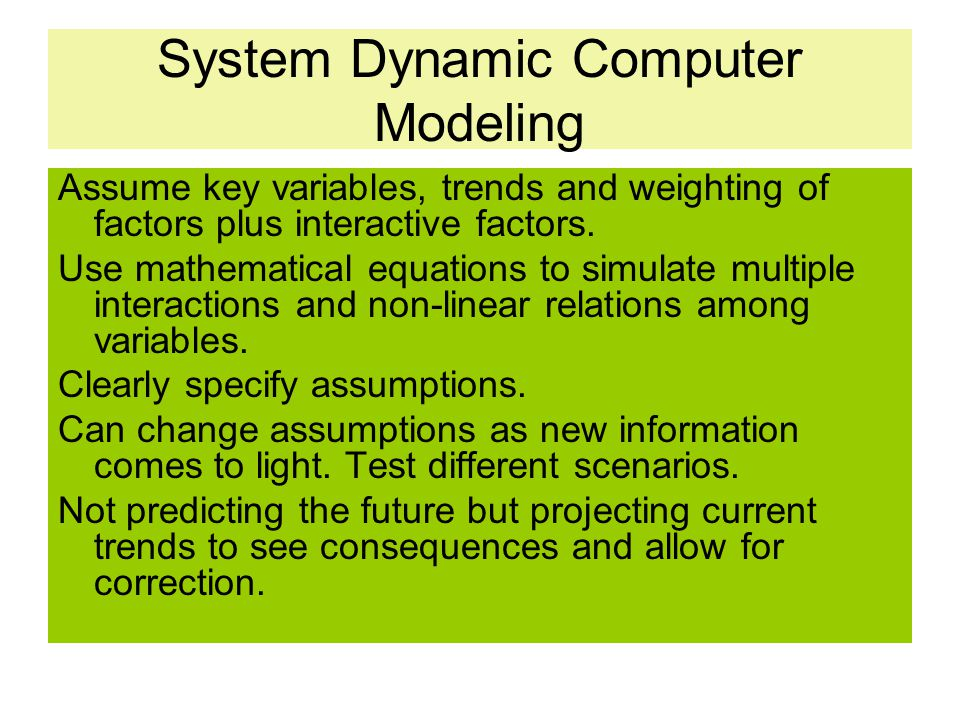 System Dynamic Computer Modeling
