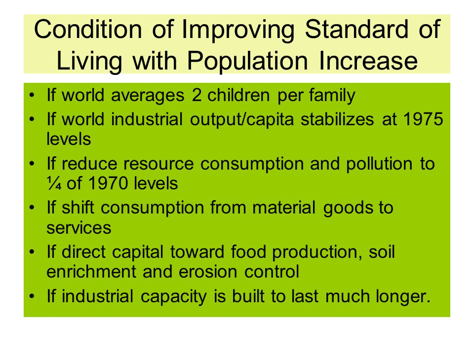 Condition of Improving Standard of Living with Population Increase