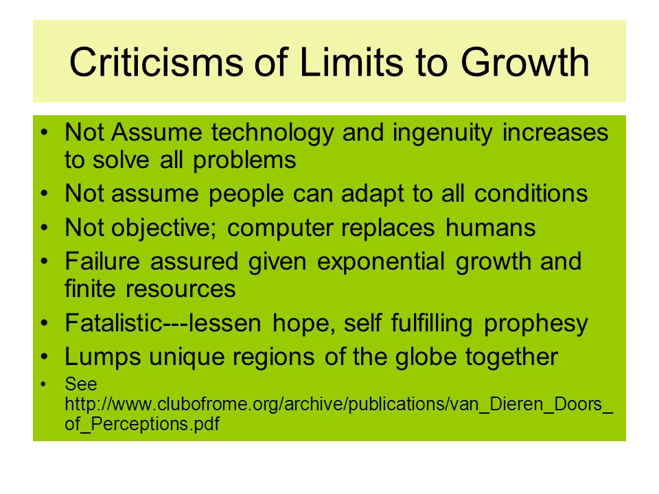Criticisms of Limits to Growth