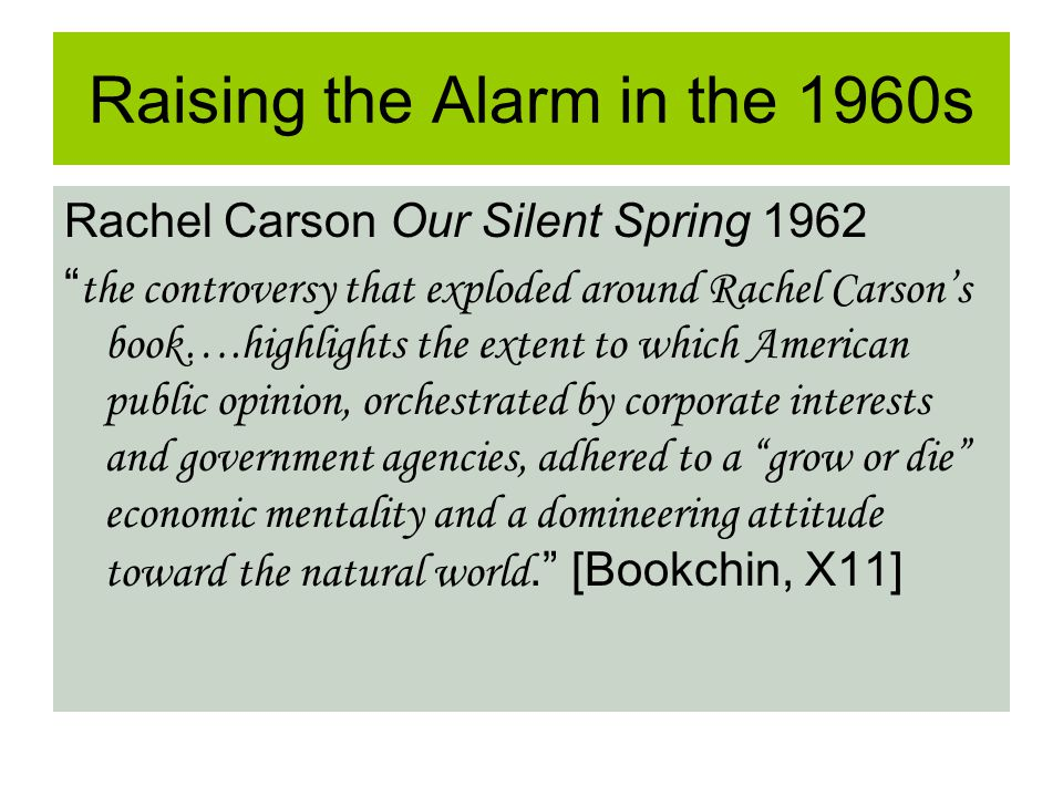 Raising the Alarm in the 1960s