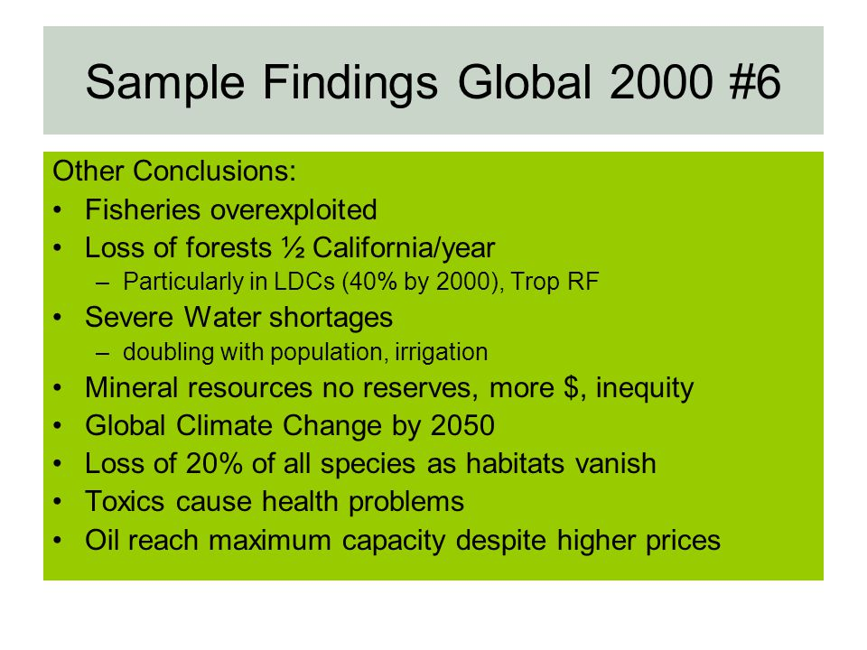 Sample Findings Global 2000 #6