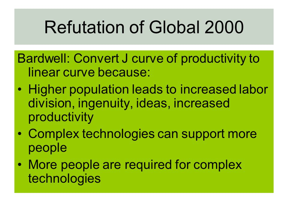 Refutation of Global 2000 Bardwell: Convert J curve of productivity to linear curve because:
