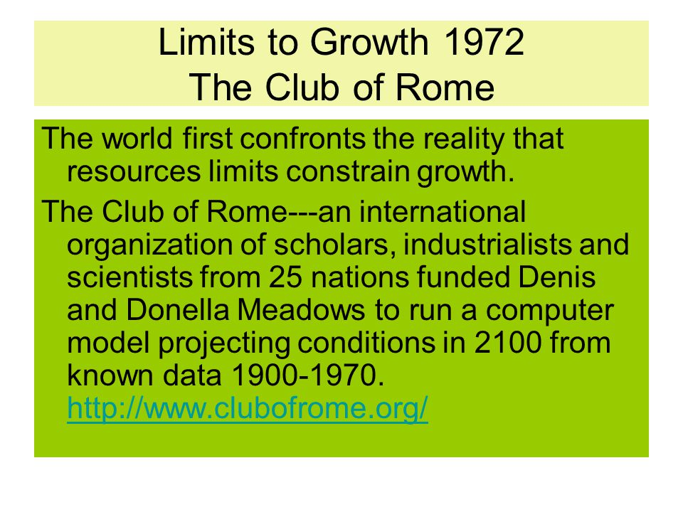 Limits to Growth 1972 The Club of Rome