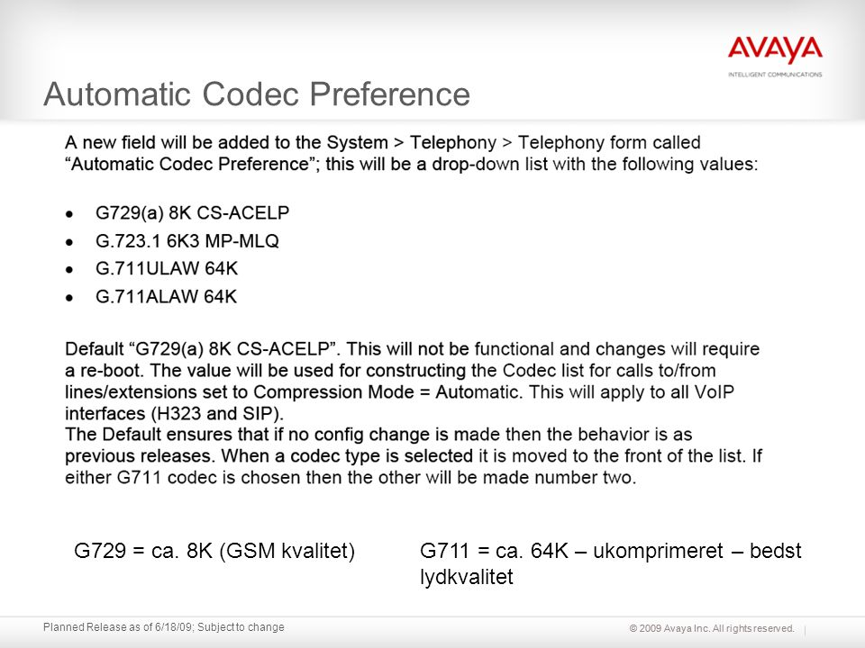 Automatic Codec Preference