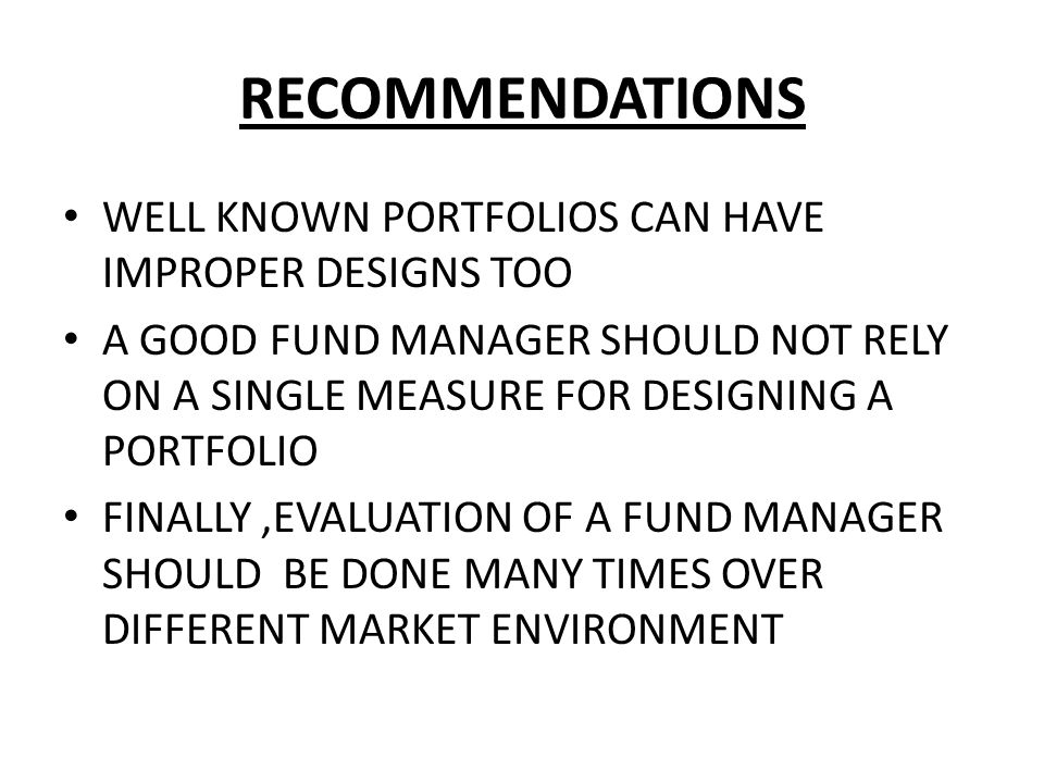 RECOMMENDATIONS WELL KNOWN PORTFOLIOS CAN HAVE IMPROPER DESIGNS TOO