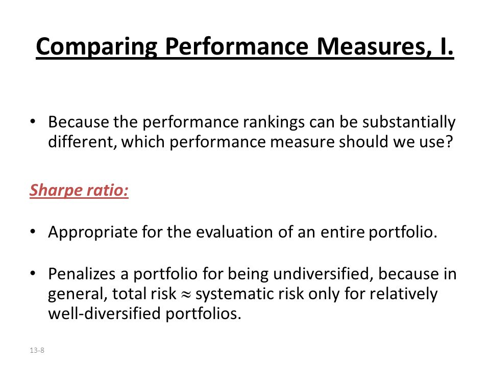 Comparing Performance Measures, I.