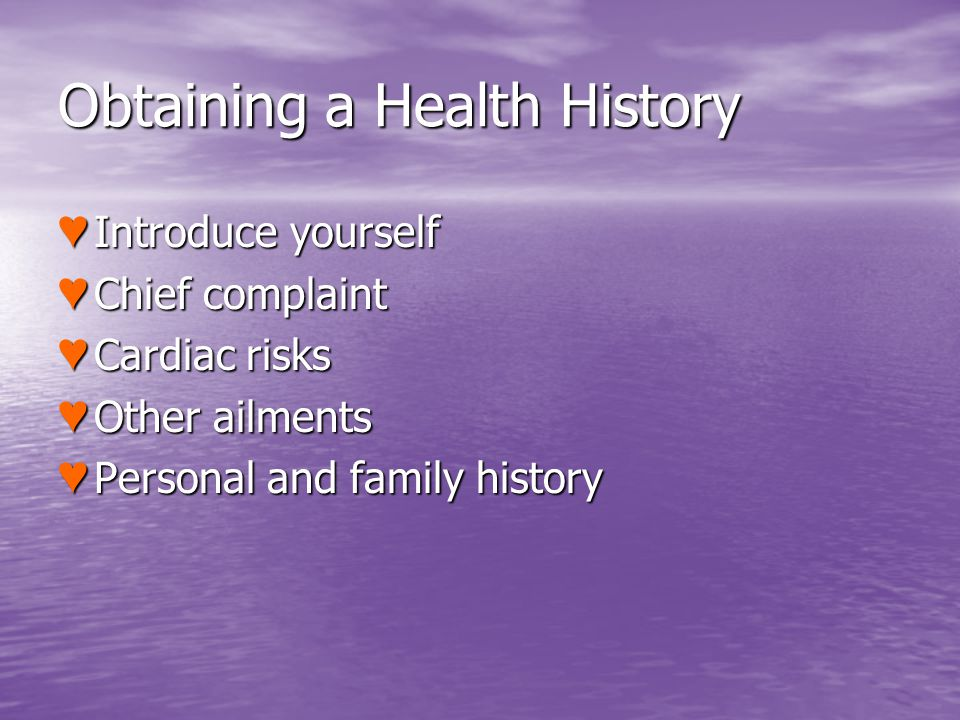 Obtaining a Health History