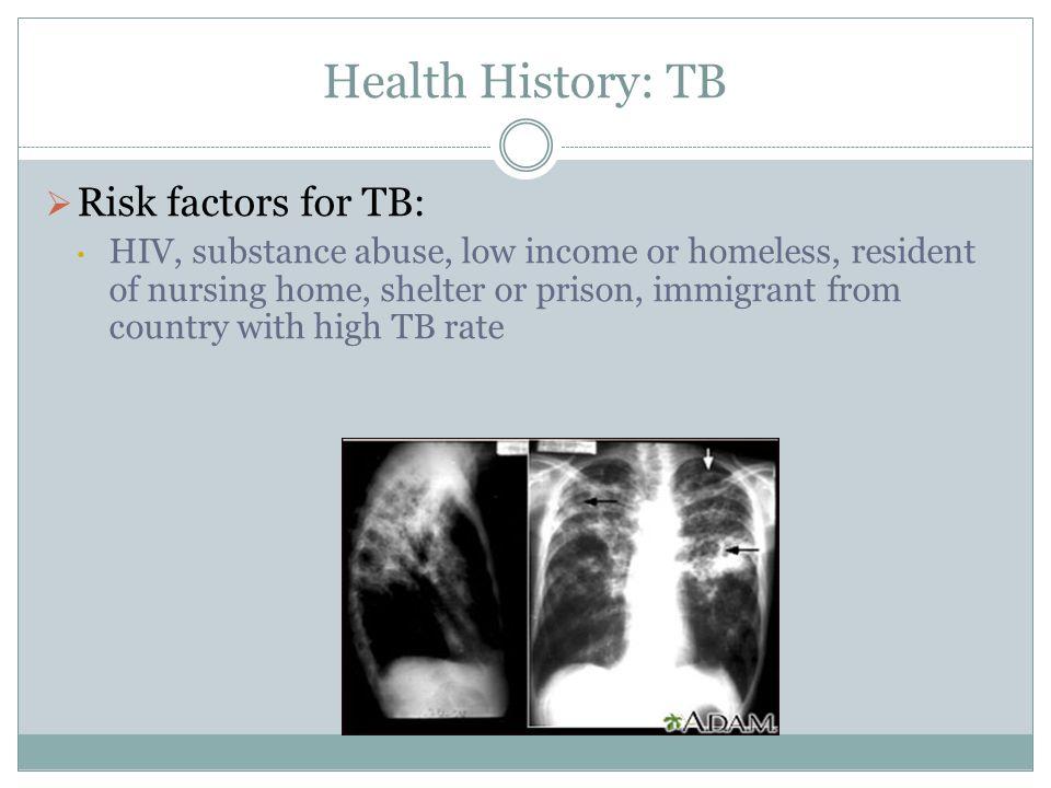 Health History: TB Risk factors for TB: