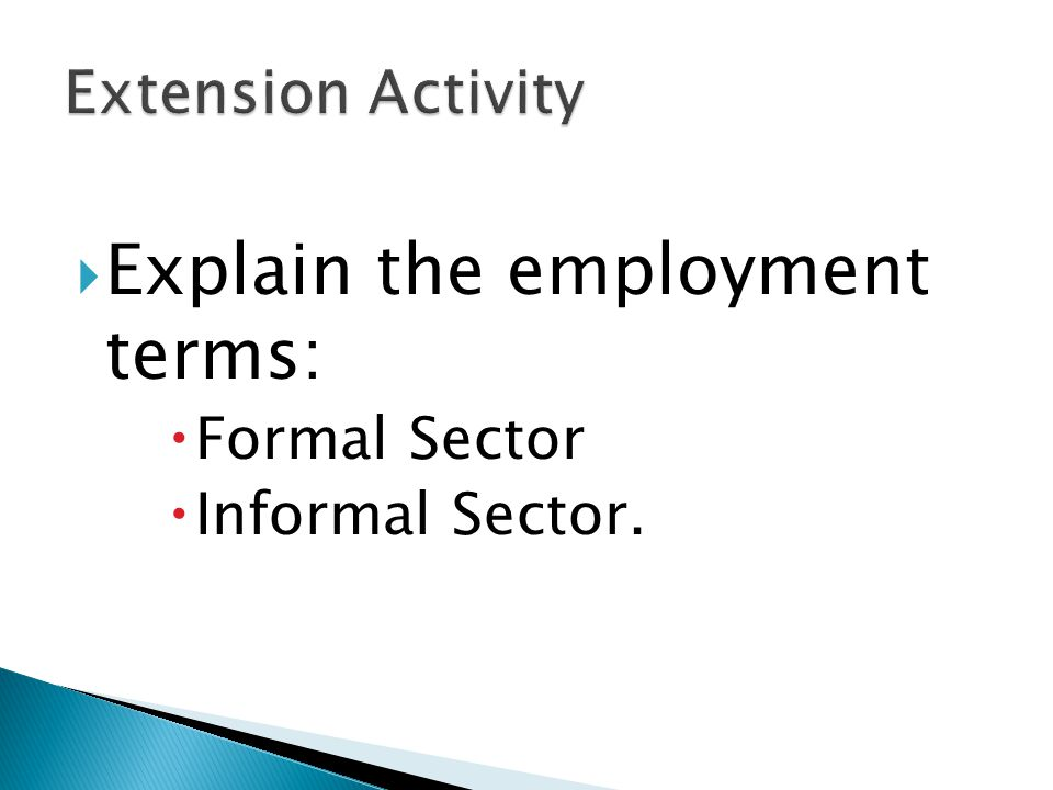 Explain the employment terms: