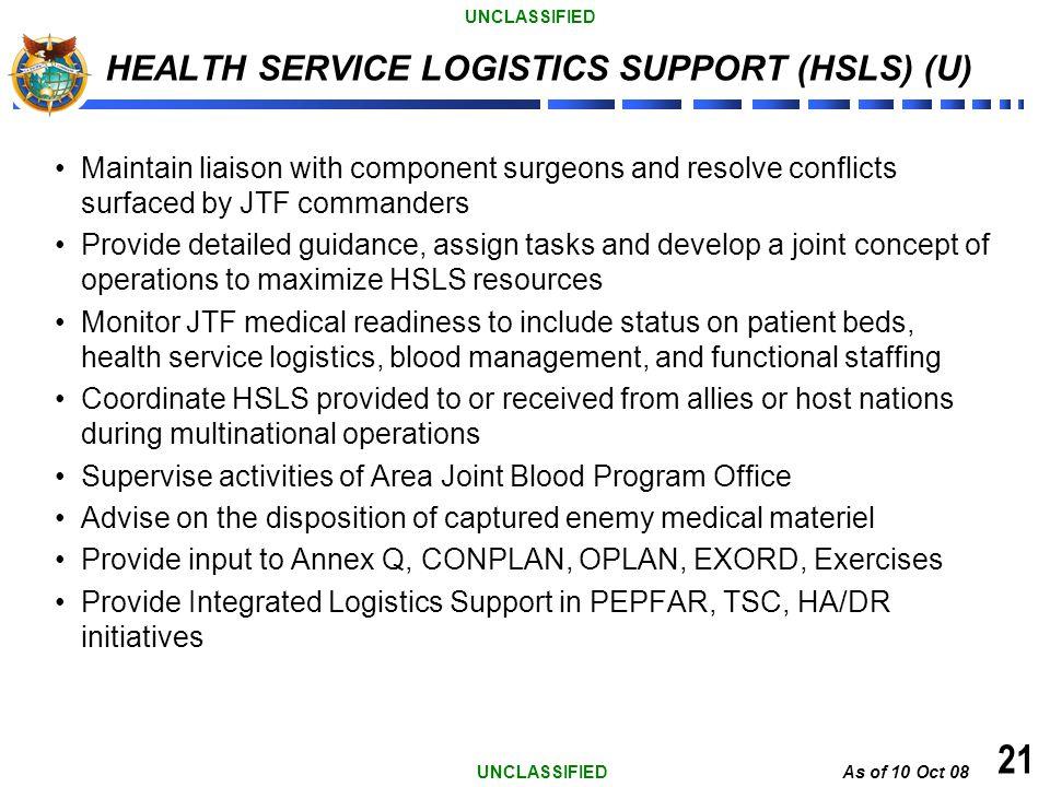 HEALTH SERVICE LOGISTICS SUPPORT (HSLS) (U)