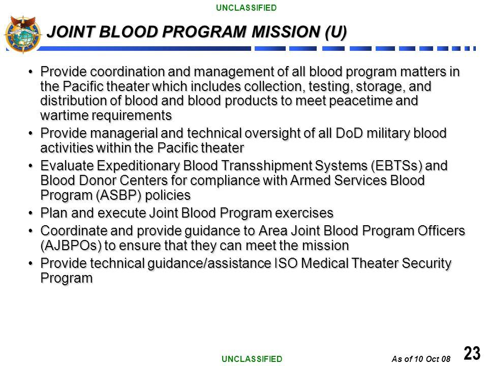 JOINT BLOOD PROGRAM MISSION (U)