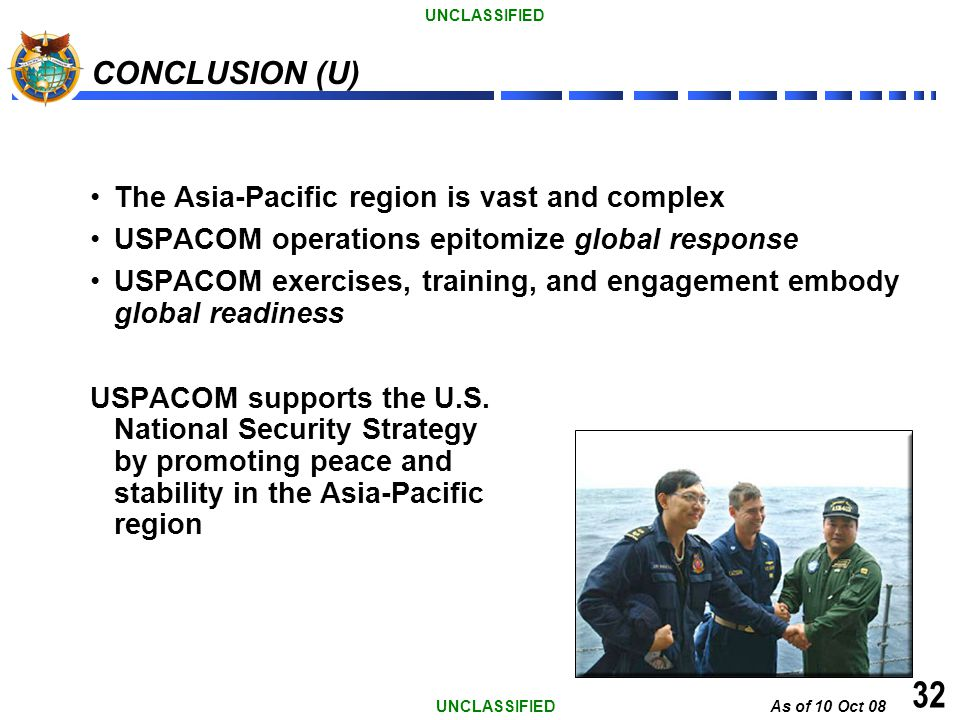 32 CONCLUSION (U) The Asia-Pacific region is vast and complex