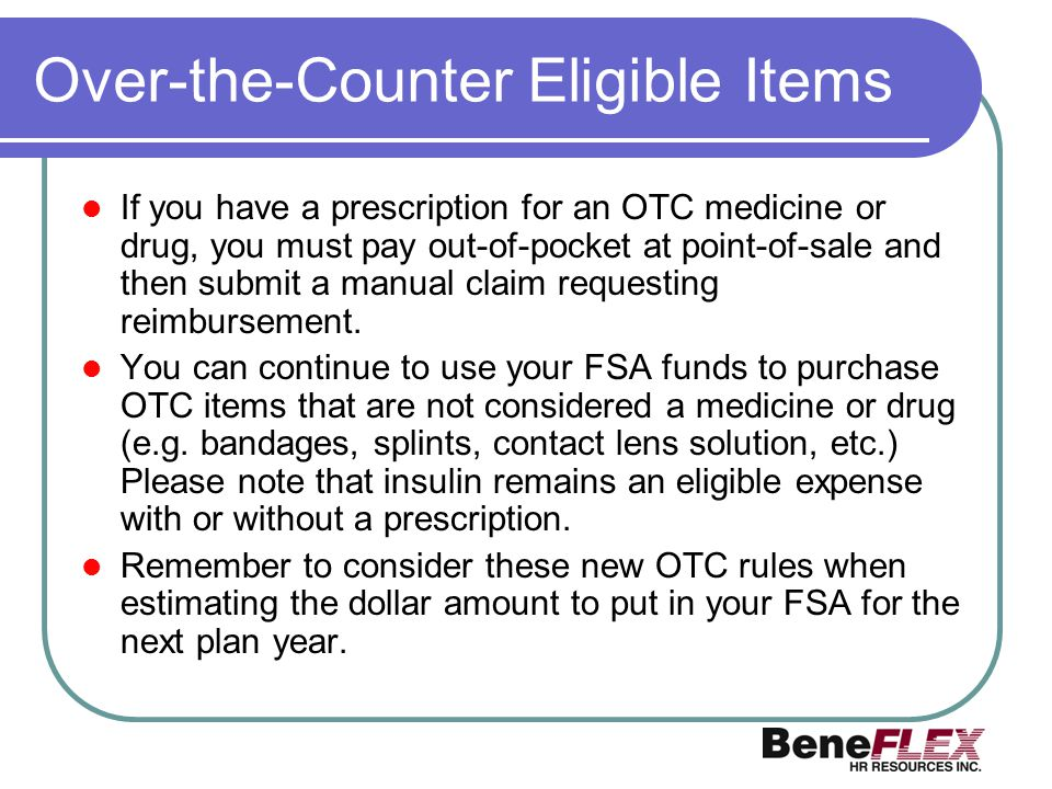 Over-the-Counter Eligible Items