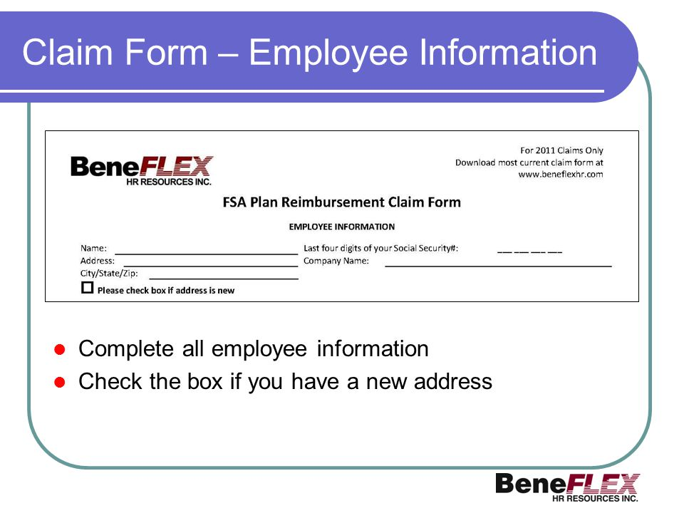 Claim Form – Employee Information