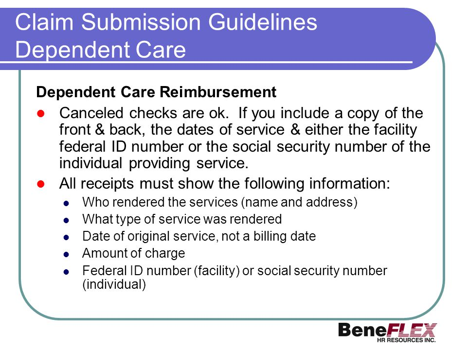 Claim Submission Guidelines Dependent Care