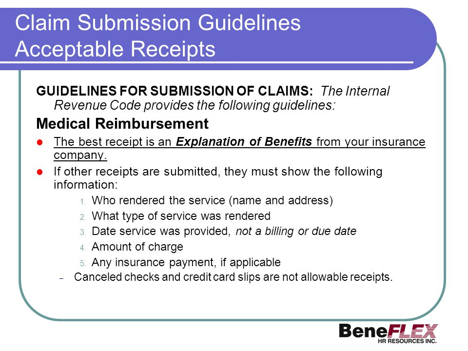 Claim Submission Guidelines Acceptable Receipts