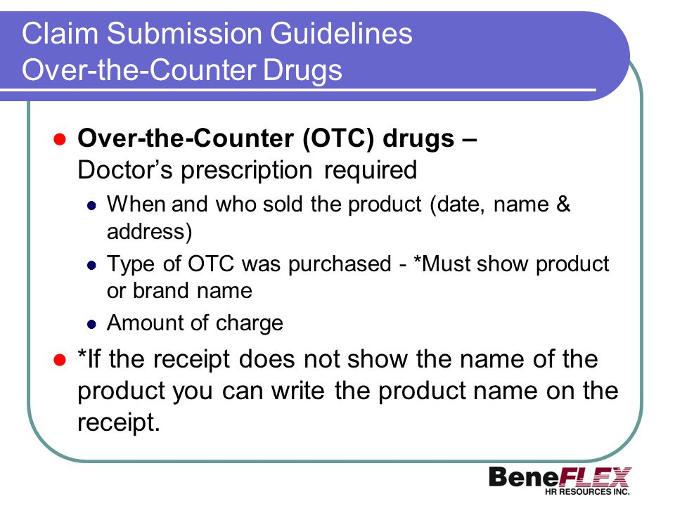 Claim Submission Guidelines Over-the-Counter Drugs