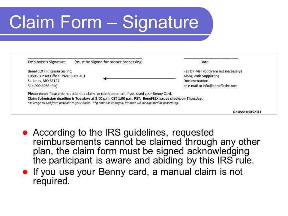 Claim Form – Signature