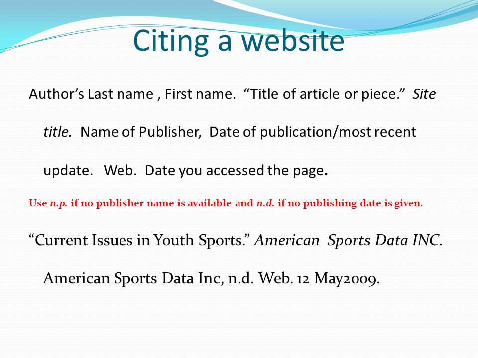 Citing a website