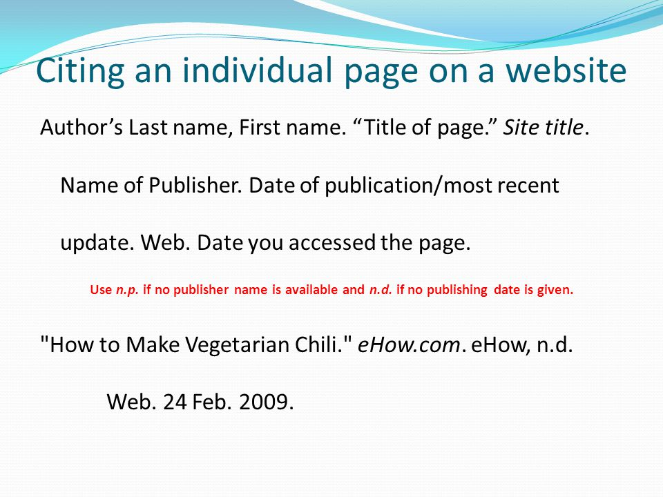Citing an individual page on a website