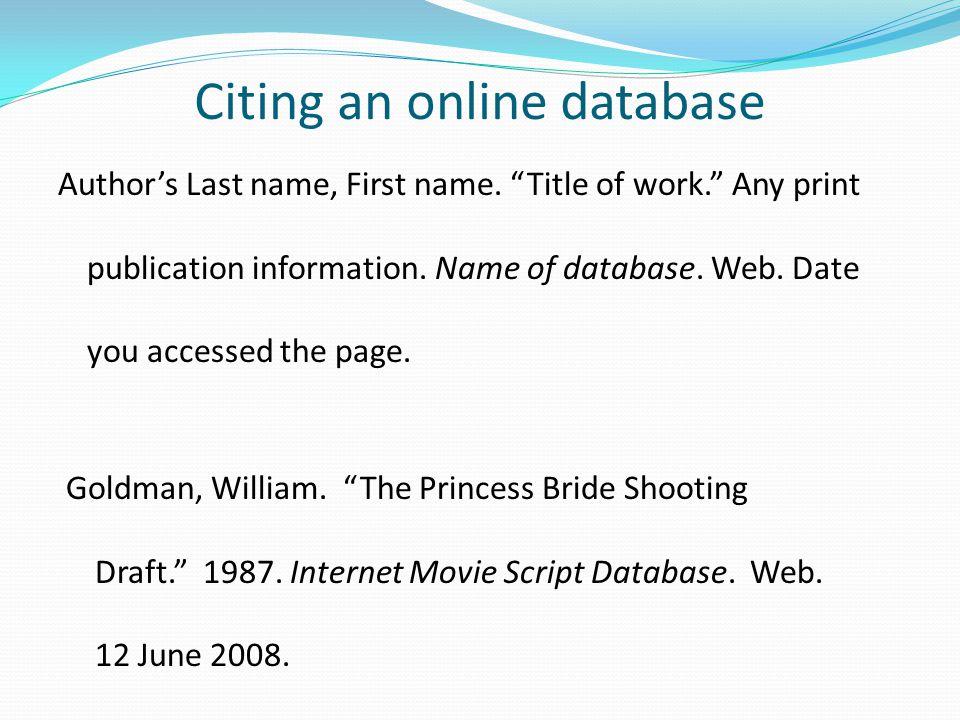 cite online database essay