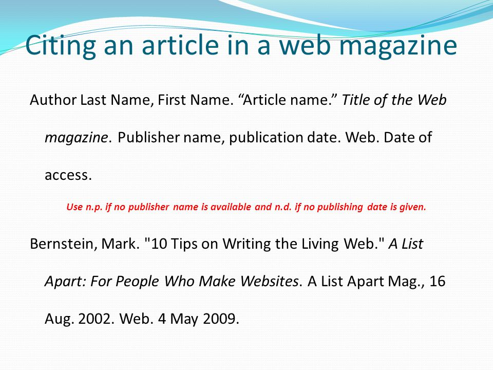 Citing an article in a web magazine
