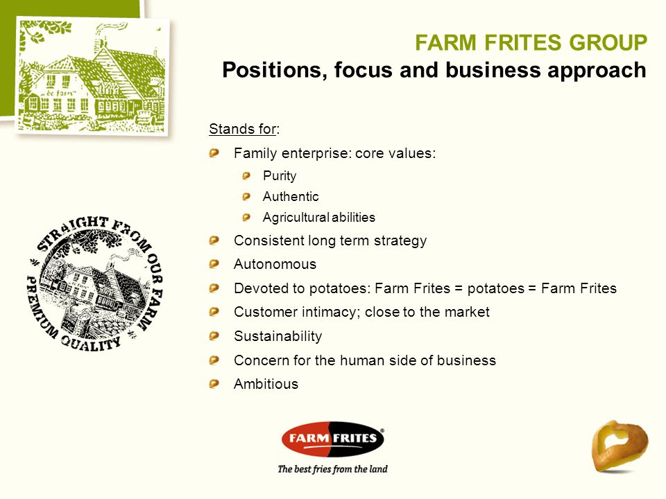 FARM FRITES GROUP Positions, focus and business approach