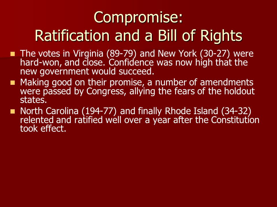 Compromise: Ratification and a Bill of Rights