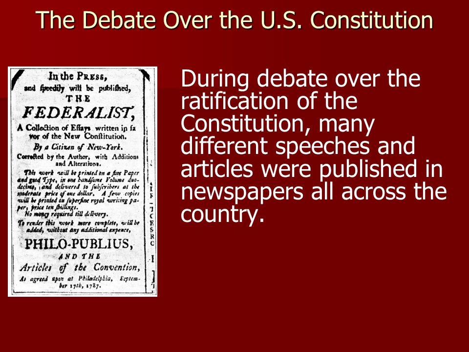 "these were essays written to urge ratification of the consitiution Impressive as they were, the men who wrote the constitution were not  this  tendency toward worship of the constitution and the framers began early  for  example, an essay supporting ratification in pennsylvania urged readers to ""[b] ear."