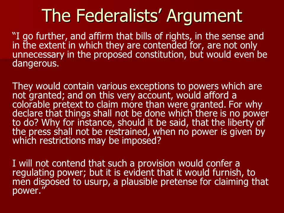 The Federalists' Argument