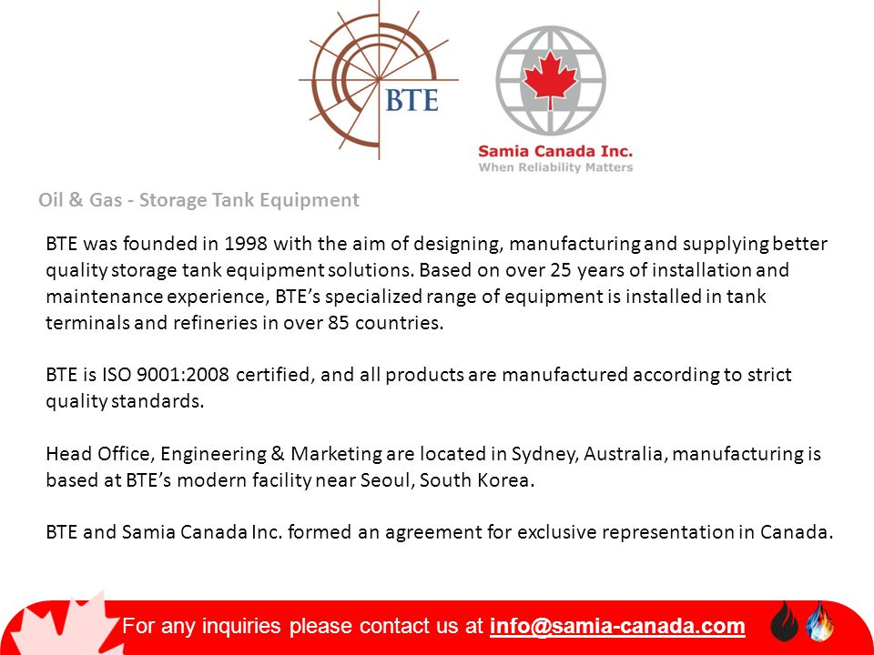 For any inquiries please contact us at info@samia-canada.com