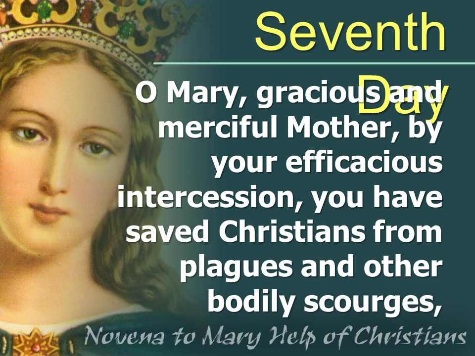 Seventh Day O Mary, gracious and merciful Mother, by your efficacious intercession, you have saved Christians from plagues and other bodily scourges,
