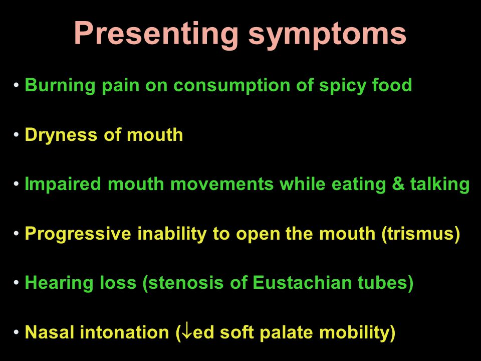 Presenting symptoms Burning pain on consumption of spicy food