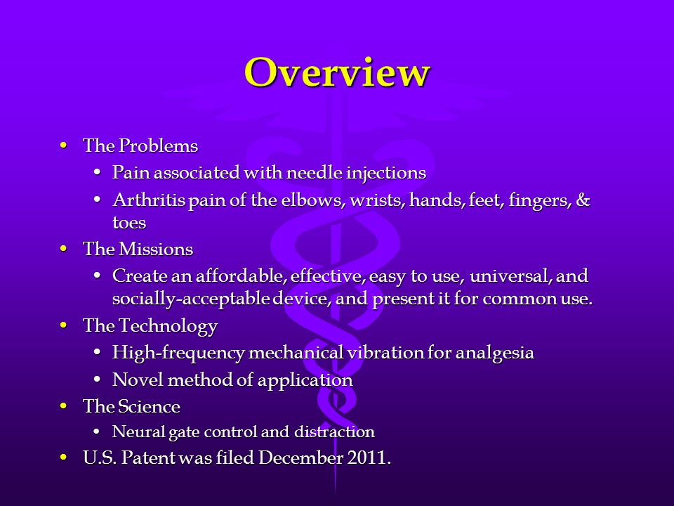 Overview The Problems Pain associated with needle injections