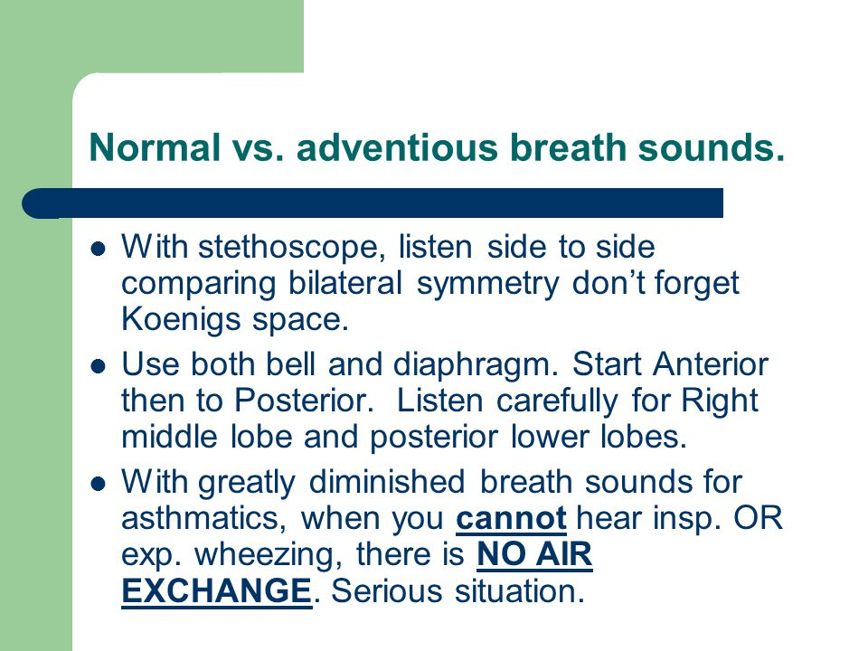 Normal vs. adventious breath sounds.
