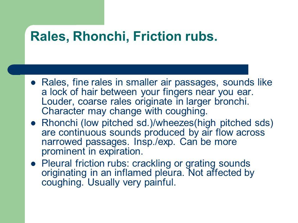 Rales, Rhonchi, Friction rubs.