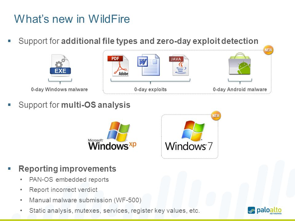 What's new in WildFire Support for additional file types and zero-day exploit detection. Support for multi-OS analysis.