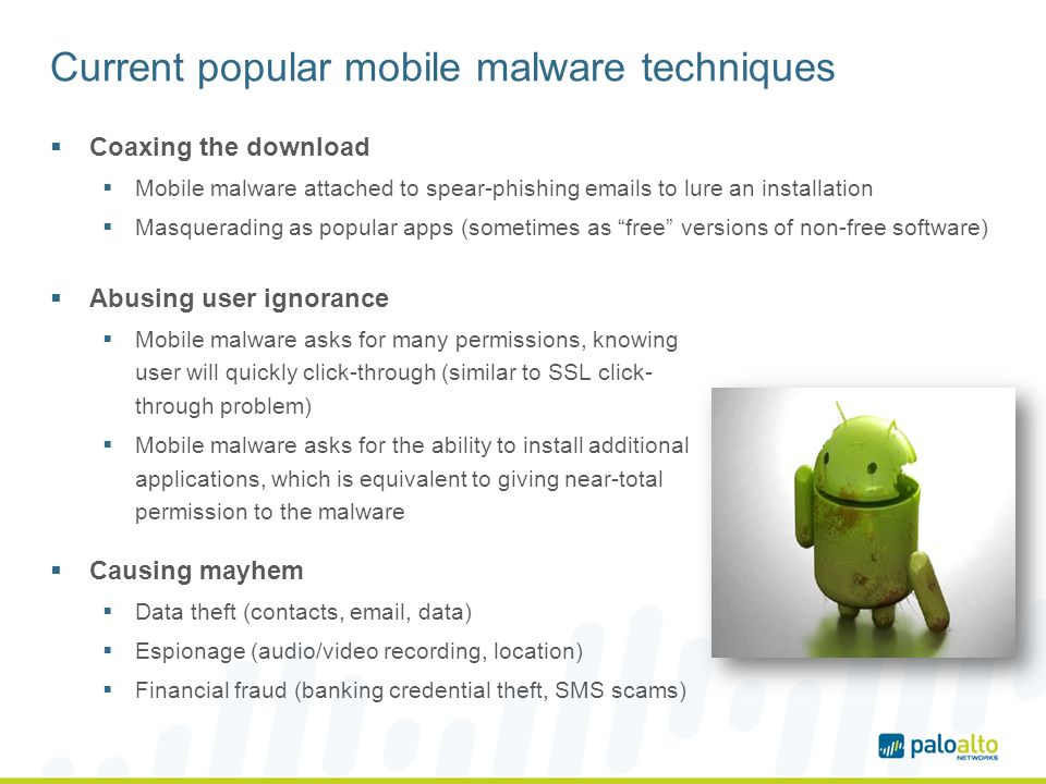 Current popular mobile malware techniques