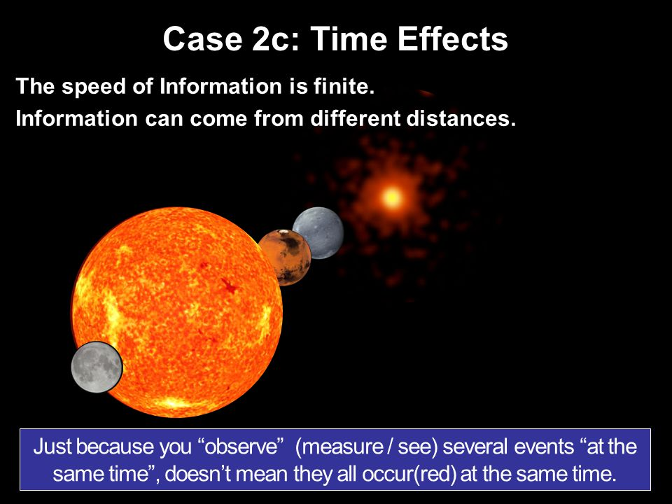 Case 2c: Time Effects The speed of Information is finite.