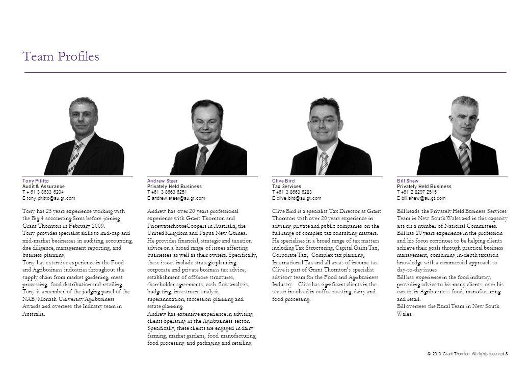 Team Profiles Andrew Newman. Audit & Assurance. T + 61 7 3222 0308. E andrew.newman@au.gt.com. James Harvey.