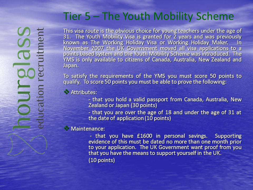 Tier 5 – The Youth Mobility Scheme