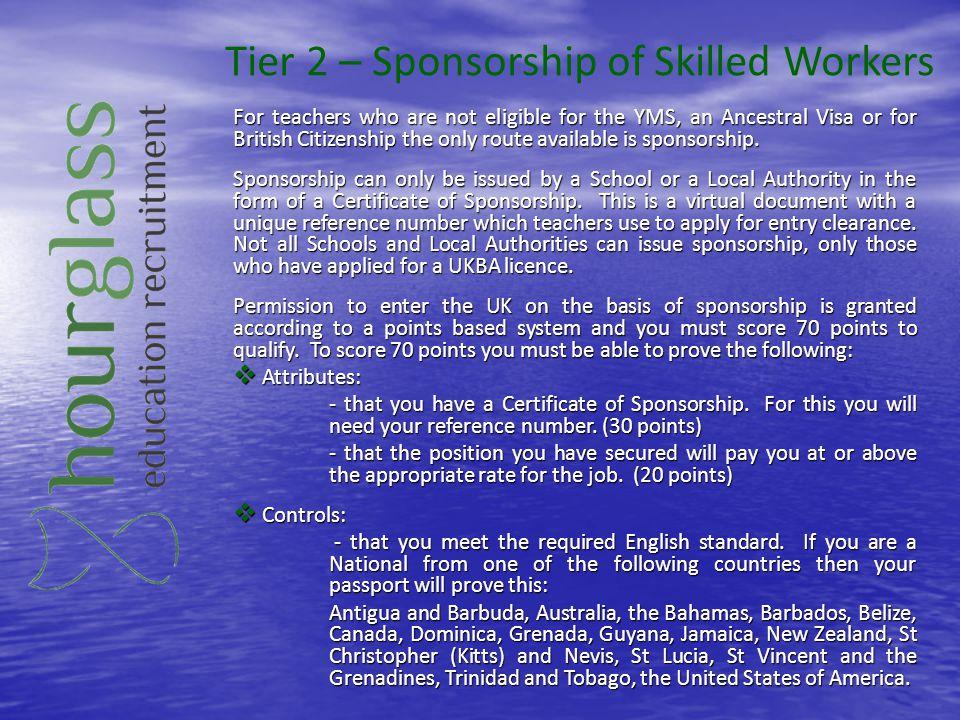 Tier 2 – Sponsorship of Skilled Workers