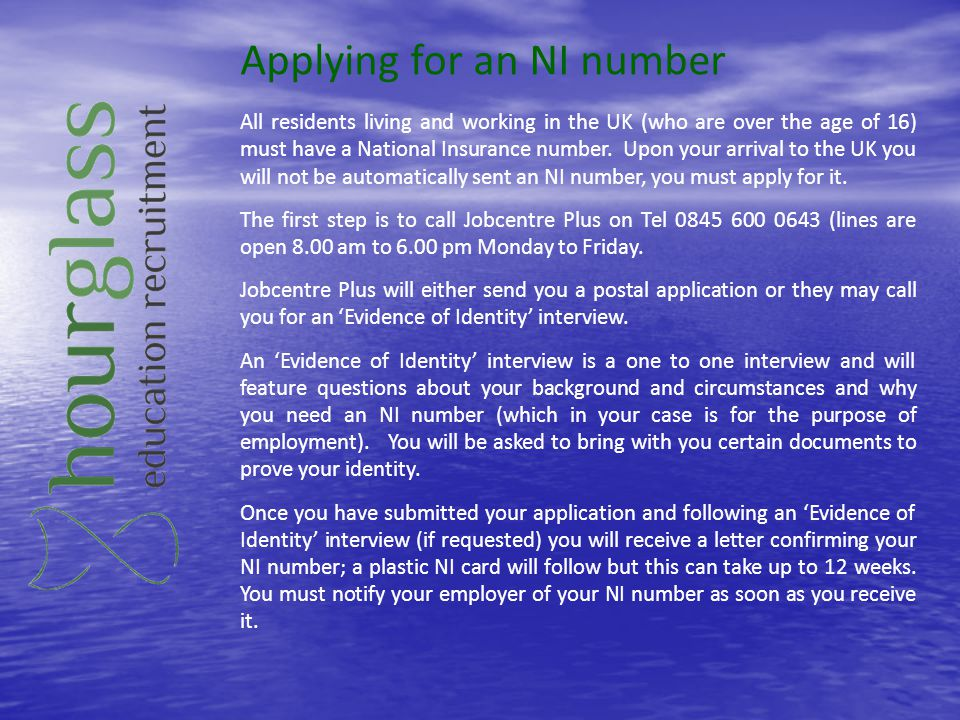 Applying for an NI number