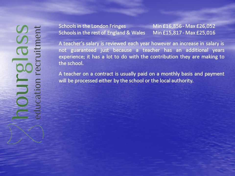 Schools in the London Fringes Min £16,856 - Max £26,052
