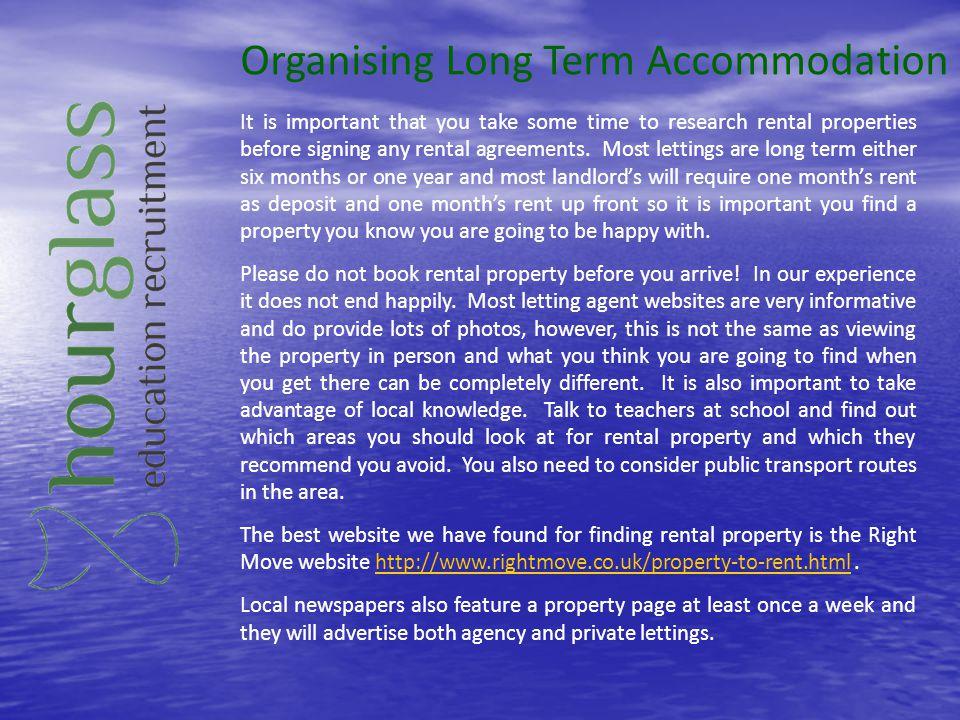 Organising Long Term Accommodation