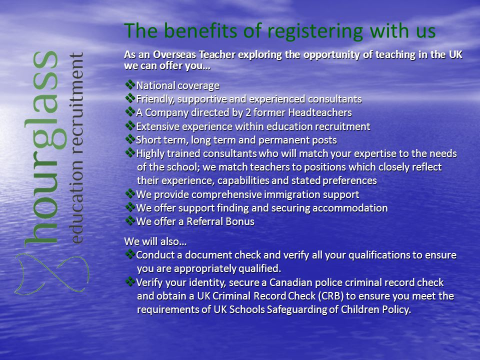 The benefits of registering with us