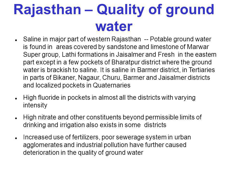 Rajasthan – Quality of ground water